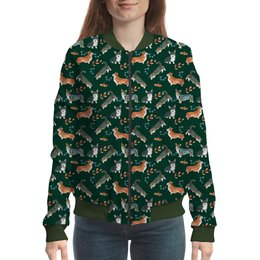 """Бомбер """"лесные мотивы"""" - собака, рыжий, кардиган, корги, вельшкорги"""