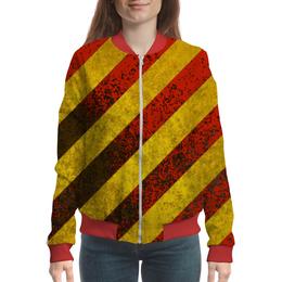 "Бомбер женский ""Полосы"" - красный, жёлтый, полосы"
