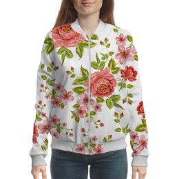 "Бомбер ""Цветы"" - розы, цветы"