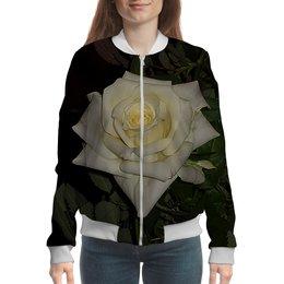 """Бомбер """"Белая роза."""" - цветок, роза, нежность, розы, белая роза"""