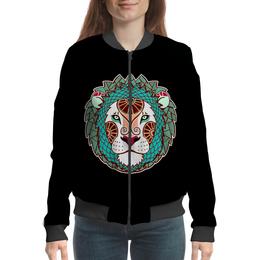 """Бомбер женский """"лев царь зверей   в природе символ силы"""" - царь, власть, левь, живлтное"""