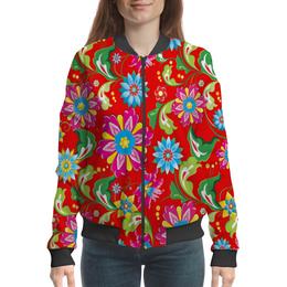 """Бомбер """"Цветочный узор"""" - цветы, природа, хохлома, роспись, букет"""