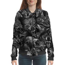 """Бомбер """"Волчий оскал   """" - мода, ужасы, оборотень, волки"""