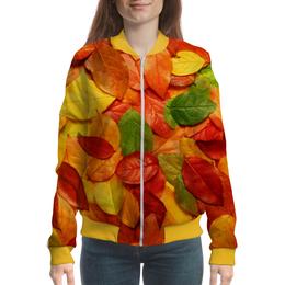 """Бомбер женский """"Осенняя листва"""" - листья, осень, природа, листва"""