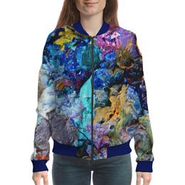 """Бомбер """"""""Масляная краска"""""""" - голубой, фиолетовый, синий, искусство, художник"""