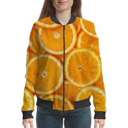 "Бомбер женский ""Апельсины"" - фрукты, тропики, апельсины"