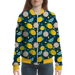 "Бомбер ""Lime Design"" - лемон, фрукты, лайм, абстракция, иллюзия"