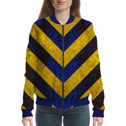 """Бомбер женский """"Полосы 3"""" - жёлтый, полосы, синий"""