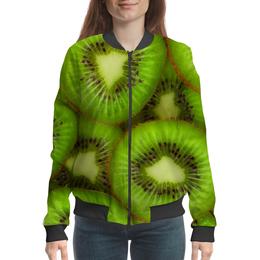 """Бомбер женский """"Киви - это наслаждение"""" - фрукты, тропики, киви"""