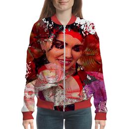 "Бомбер ""Аленький цветочек"" - девушка, цветок, красный, красота, кляксы"