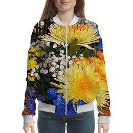 """Бомбер """"Яркое настроение!"""" - лето, цветы, букет, георгины, цветник"""