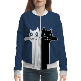 "Бомбер женский ""Белый кот чёрная кошка"" - кошечки"