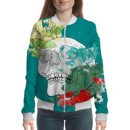 "Бомбер ""Череп Акварель"" - череп, кляксы, цветы, рисунок, акварель"