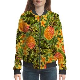 "Бомбер ""Ананасы"" - узор, листья, фрукты, тропики, ананасы"