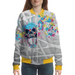 "Бомбер ""Abstraction Skull 3D"" - skull, череп, абстракция, 3d, арт дизайн"
