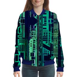 """Бомбер женский """"""""Город будущего"""" """" - зеленый, синий, киберпанк, небоскребы, мегаполис"""