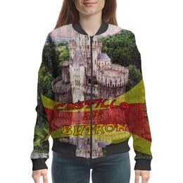 """Бомбер женский """"Замки Испании. Замок Бутрон."""" - красный, испания, полоски, крепость, испанский флаг"""