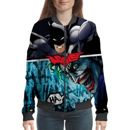 """Бомбер женский """"SMILE (Batman vs. Joker)"""" - joker, batman, джокер, бэтмен, mortal kombat"""