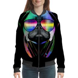 """Бомбер женский """"Мопс в очках"""" - приколы, очки, диджей, мопс"""