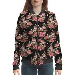 """Бомбер женский """"Розовый букет"""" - цветы, букет"""