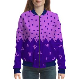 """Бомбер женский """"Падающие треугольники"""" - сиреневый, фиолетовый, треугольник, горох, половина"""