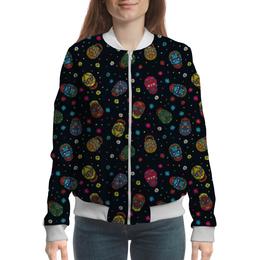 """Бомбер женский """"Цветочные черепа"""" - череп, яркий, стильный, цветной, модный"""