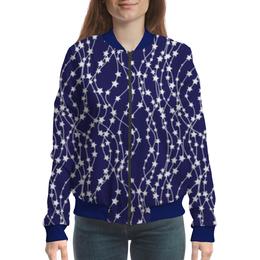 "Бомбер женский ""Звёзды"" - новый год, рисунок, звёзды, гирлянды"