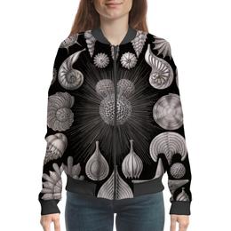 """Бомбер """"Глобигерина (Globigerina, Ernst Haeckel)"""" - новый год, черно-белый, ракушка, красота форм в природе, эрнст геккель"""