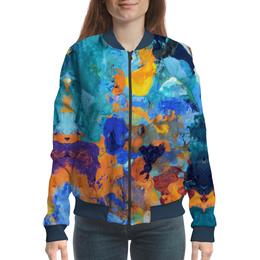 """Бомбер женский """"""""Застывшие яркие краски"""""""" - оранжевый, голубой, искусство, разноцветный, художник"""