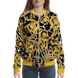 "Бомбер ""Gold Vintage"" - жене, узоры, винтаж, золотой, модникам"
