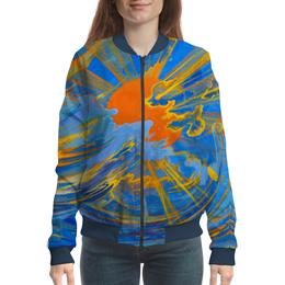 """Бомбер женский """"Солнце"""" - солнце, небо, облака, голубое, оранжевое"""