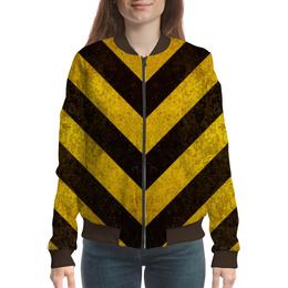 """Бомбер женский """"Полосы 3"""" - чёрный, жёлтый, полосы"""
