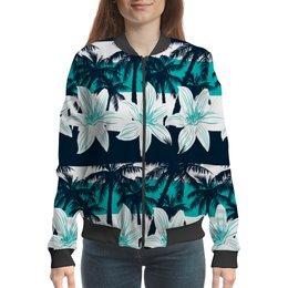 """Бомбер """"Тропические цветы"""" - цветочки, пальмы, природа, цветы, тропики"""