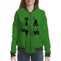 """Бомбер женский """"Кошки 7"""" - рисунок, кошки, зелёные глаза, чёрная кошка"""