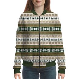 """Бомбер женский """"Скандинавский узор"""" - узор, орнамент, олень, снежинка, елка"""