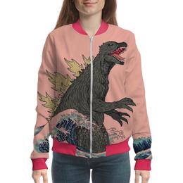 """Бомбер женский """"Годзилла"""" - динозавр, годзилла, годзила"""