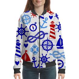 """Бомбер женский """"Морские знаки"""" - якорь, маяк, канат, компас, морские знаки"""