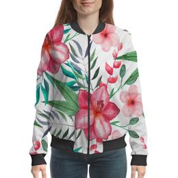 """Бомбер """"Цветы"""" - цветы, лес, природа, тропики, листья"""