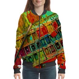 """Бомбер женский """"""""Акварельные краски"""""""" - искусство, разноцветный, акварель, художник, пестрый"""