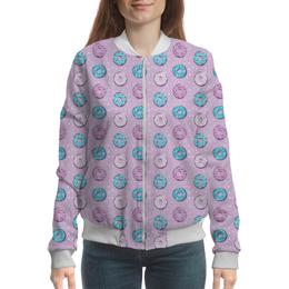 """Бомбер """"Поп арт дизайн. Пончики паттерн"""" - молодежный, розовый, стильный, модный, попарт"""
