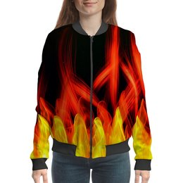 "Бомбер ""Без названия"" - узор, огонь, краски, пламя, пожар"