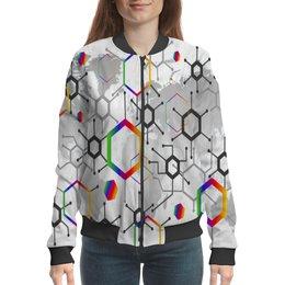 """Бомбер """"Формула"""" - узор, текстура, формула, химия, молекулы"""