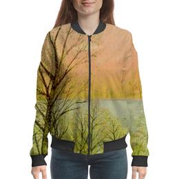 """Бомбер женский """"Закат весной"""" - цветы, рисунок, природа, закат"""