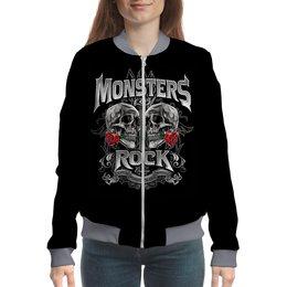"""Бомбер """"МУЗЫКА. MONSTERS ROCK"""" - черепа, красота, эмблема, розы, стиль надпись логотип яркость"""