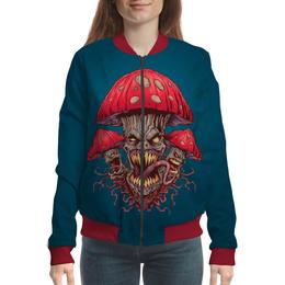 """Бомбер женский """"Зловещие мухоморы"""" - прикол, гриб, грибы, зло, мухомор"""