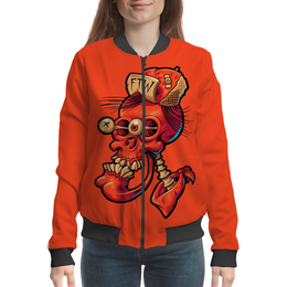 "Бомбер ""Череп весёлый арт"" - skull, череп, прикол, арт, дизайн"