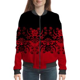 """Бомбер женский """"Красно-черный"""" - цветы, узор, черный, красный, орнамент"""