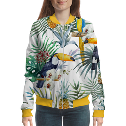 "Бомбер ""Пеликан и ананасы"" - красиво, птицы, природа, ананас, пеликан"