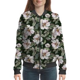 """Бомбер """"Цветочная любовь"""" - цветы, flower, листья, тренд, цветочный"""