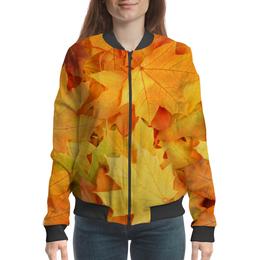 """Бомбер женский """"Осень"""" - листья, осень, дождь"""